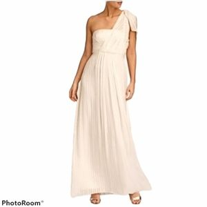BCBGMaxAzria White One Shoulder Shadow Silk Dress